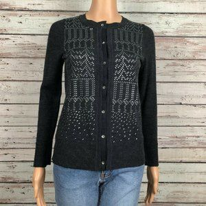 Eddie Bauer Merino Wool Studded Cardigan Sweater